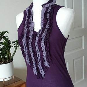 6 degrees ruffle tank top